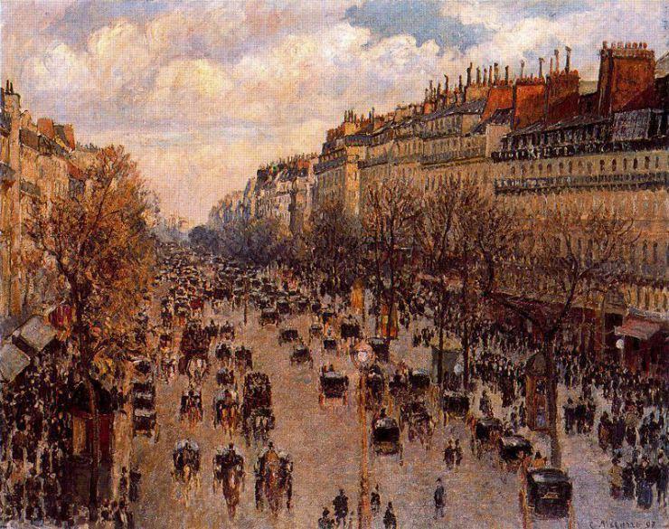 """Camille Pissarro: """"Boulevard Montmartre en la tarde"""" (1897) / Museo del Hermitage."""